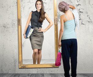 Die Person im Spiegel