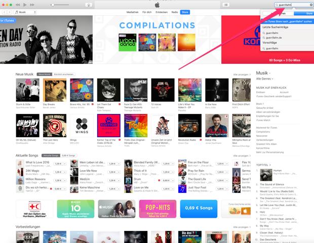 """""""iTunes Suchfeld"""