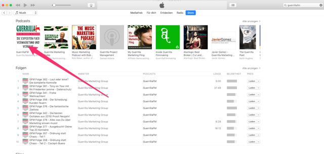 """""""iTunes Treffer anklicken"""
